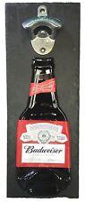 Budweiser Bud  Bottle Opener, Mounted on Slate backing. Unique male Xmas Gift