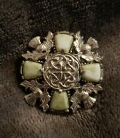 Vintage Jacobite connemara marble stone green Agate Stone Scottish Brooch pin