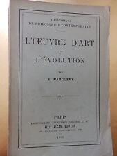 L'OEUVRE D'ART ET L'EVOLUTION PAR E. MARGUERY ETD 1899
