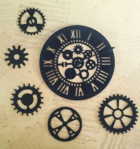 New - Steampunk Clock & Gear Die Cuts - Black (pack Of 5)