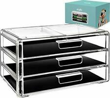 Acrylic Jewelry Organizer Arranges Makeup and Accessories 3 Drawers Cosmetic Box
