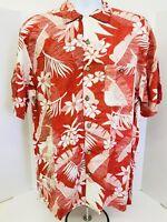Joe Marlin Hawaiian Mens Casual Short Sleeve Tropical Floral Shirt Men Size L