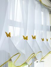 Butterfly Voile Curtain With Matching Piping - Kitchen Blind - Cafe Net Curtains