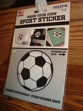 SOCCER Ball Make Your Own SPORT STICKER with Numbers - Removeable by PEEL STAR