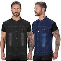 Viking Cycle Denim Motorcycle Vest for Men, Black, Size Medium mwTH