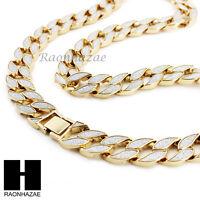 "Hip Hop Iced Sand Blast Cuban Chain Gold 18mm Bling 30""  Necklace 8.5"" Bracelet"