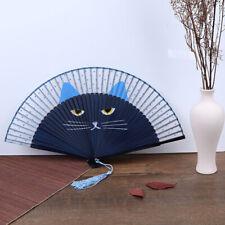 Summer Bamboo Folding Fan Hand Held Cartoon Cat Baking Varnish Fan Pocket Gnwus