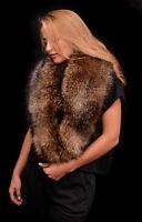 Saga Fur Natural Finn Raccoon Fur Massive Handmade Shoulder Wrap Boa Stole Scarf