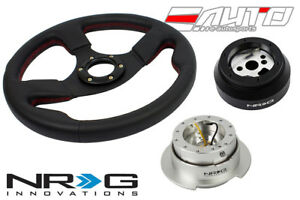 "NRG 320mm 1.5"" DP Race Leather Steering Wheel RD St 170H Hub Gen2.5 SL Release a"
