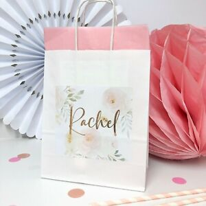 Personalised Hen Party Gift Bag | ROSE PEONY | Foil Hen Night Favour Bags Gold