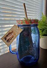 New Pioneer Women  Blue Glass Mason Jar Drinking Jar 32 oz.