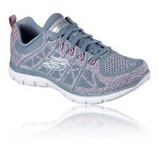 Scarpe da ginnastica grigi Skechers per donna flex appeal