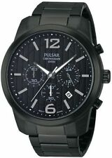 Pulsar By Seiko Chronograph Black Ion Plated Men's Sport Watch PT3287 SD
