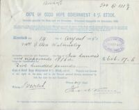 CAPE OF GOOD HOPE GOVERNMENT STOCK 1895 Interest Stocks&Dividends Receipt  46089