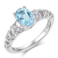 1.85 Ct Sky Blue Sapphire White Topaz 925 Sterling Silver Gemstone Ring Sz 5-10