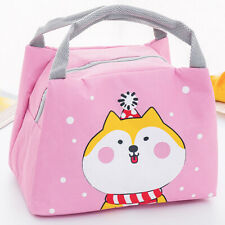 Womens Girls Cartoon Portable Insulated Cooler School Lunch Box Picnic Bags Pink