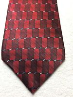 STAFFORD MENS TIE BURGUNDY WITH RED AND BLUE AND WHITE 3.75 X 58 NWOT