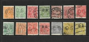 Stamps Australia KGV 'OS' Heads Selection x 14 Good/Fine Used 1/2d to 4d