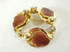 AMBER Enamel LEAVES CIRCLE PIN Brooch Aurora Borealis Rhinestones Gold Vintage