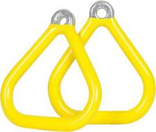 SWING SET STUFF COMMERCIAL COATED TRIANGLE TRAPEZE RINGS YELLOW (PAIR) seat 0017