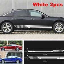Car Racing White Long Stripe Graphics Side Body Vinyl Decal Sticker Universal