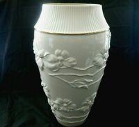 "Luxurious Lenox Porcelain Vase Ivory 24K Gold Trim Embossed Floral 16"" Tall w1s1"