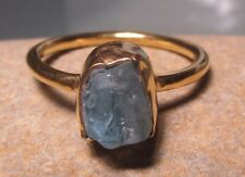 Gold plated brass everyday rough teal apatite ring UK R½/US 9