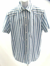 Levis Size Large Short Sleeve Shirt Red Tab Pearl Snaps Blue Silver Striped