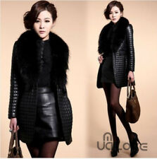 Women Faux Fur Leather Coat Jacket Girl Collar Outerwear Overcoat Black NEW