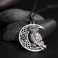 Vintage Crescent Moon Owl Charm Necklace Pendant Rope Chain Jewelry Gifts