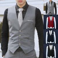 Formal Men's Dress Slim Fits Suit Vest V-neck Waistcoat Business Casual Coat Cha