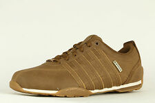MENS K-SWISS ARVEE 1.5 NUBUCK LEATHER TRAINERS - UK SIZE 7 - BISON BROWN/GOLD.