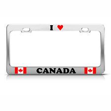 I LOVE HEART CANADA FLAG Chrome Heavy Duty Metal License Plate Frame Tag
