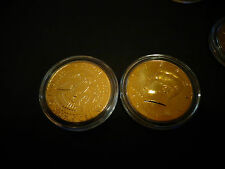 LOT OF 2 -24 KT GOLD PLATED J.F KENNEDY HALF DOLLAR COIN SET *AIR TIGHT CAPSULE