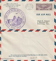 US 1931 FIRST FLIGHT AM 12 FLOWN COVER AMARILLO TEXAS TO STIRLING ILL
