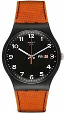 Swatch Mens Faux Fox Watch, Black Dial, Orange Silicone Strap, SUOB709