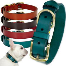 Plain Genuine Leather Dog Collar Adjustable Extra Small to Large German Shepherd
