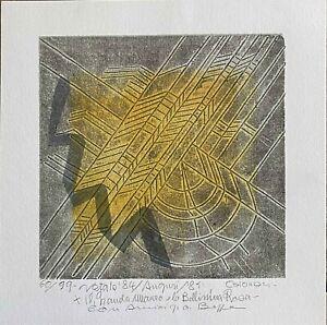 Giuseppe Calonaci litografia e incisione Composizione Natale '84 24x24 firmata