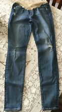 7 FOR ALL MANKIND DISTRESSED DENIM MATERNITY JEANS SIZE 30 ~ Tapered Leg