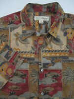 Mens Medium Tori Richard turtle fish cotton hawaiian shirt