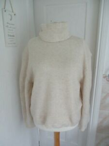 TopShop Cream Roll Neck Soft Touch Waffle Knit Jumper Size XL-18 BNWT