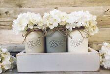 BALL Mason Jar Glass handpainted grey rust white distressed Boho look centerpiec