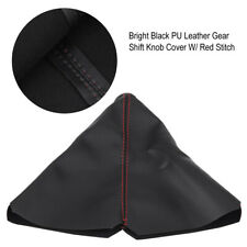 Universal PU Leather Gear Shift Knob Cover Red Stitch Gear Gaiter Boot Cover DY