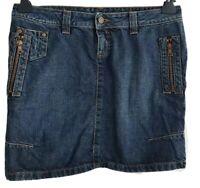 CALVIN KLEIN Womens Indigo Front Zipped Denim Mini Skirt.Size UK 10, EU 38, US 6