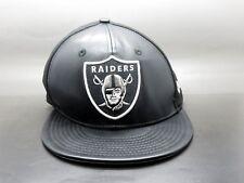 be9b5e16528 New Era 9Fifty NFL Oakland Raiders Black Leather Front Strapback Cap Hat M L