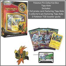 Pokemon Pin Collection Box Tapu Koko 3 Booster Packs Promo Card + Pin Badge