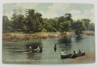 Postcard Bathing an Boating on Raccoon River Perry Iowa 1908