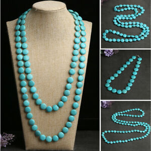 Round Turquoise necklace Statement Choker Vintage Long Sweater Chain Collar Bibs