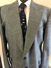 "Men's VTG 3 Pc SUIT Navy Plaid Wool 50R 48""X 33"" Barney Lehman"
