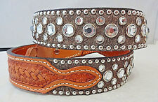 New Double J Saddlery Belt Western Hair On Leather Clear Crystal Rhinestones 36